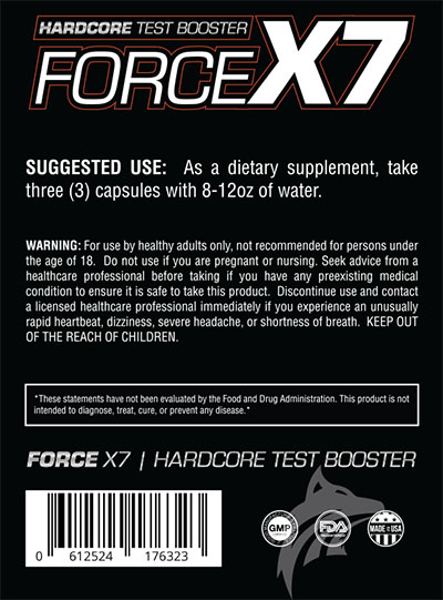 Suggested Use Testosterone Force X7
